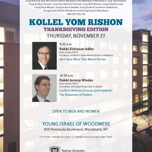 Thanksgiving Kollel Yom Rishon